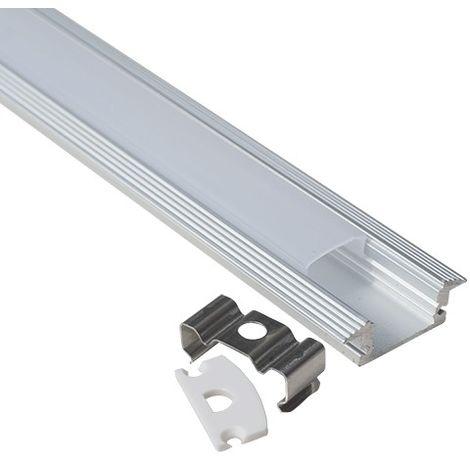 Perfil aluminio tira led empotrable 1 mts. - Difusor plano opal