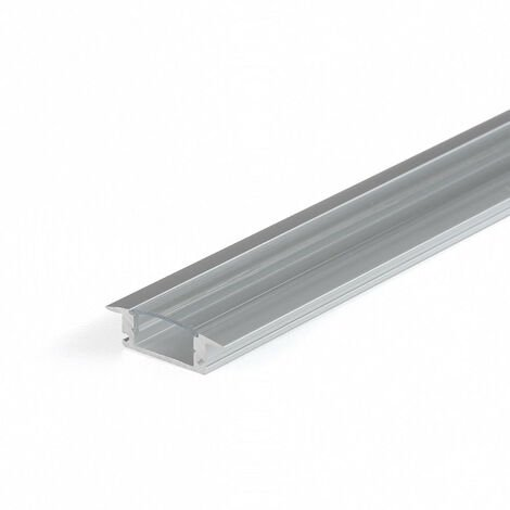 Perfil Aluminio Tira LED Empotrar Transparente 2m