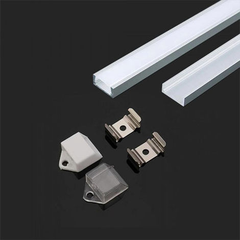 Perfil aluminio tira LED en superficie 2 m - Difusor plano Milky cover