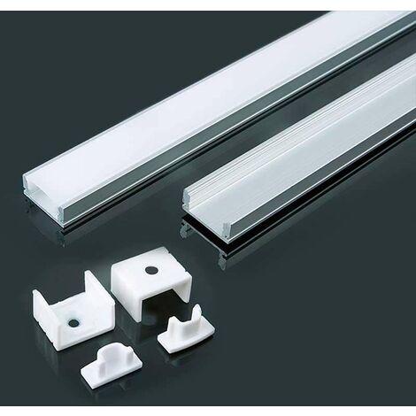 Perfil aluminio tira LED en superficie 2 m - Difusor plano White cover