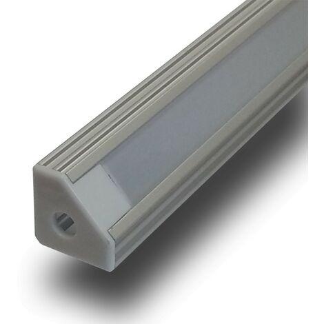 Perfil Aluminio Tira LED Esquina Opal 1m