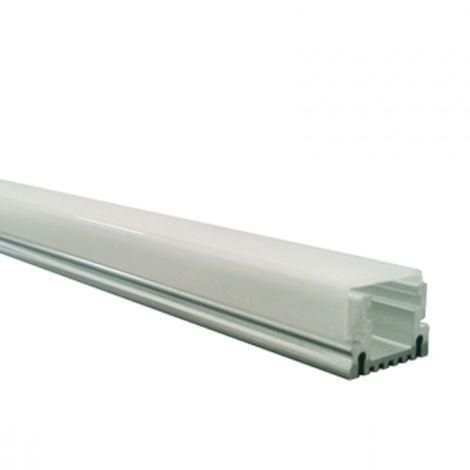 Perfil aluminio tira led superficie 1 mts. - Difusor plano transparente