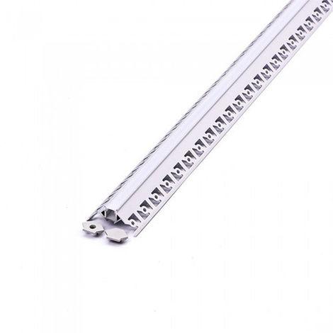 Perfil aluminio V tira LED empotrable 2 metros-Difusor plano Milky cover