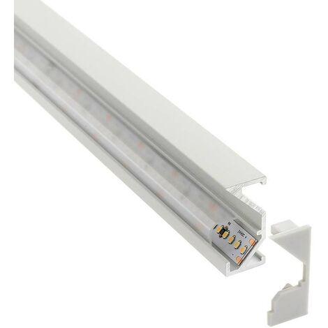 Perfil aluminio WARE para tiras LED, 2 metros