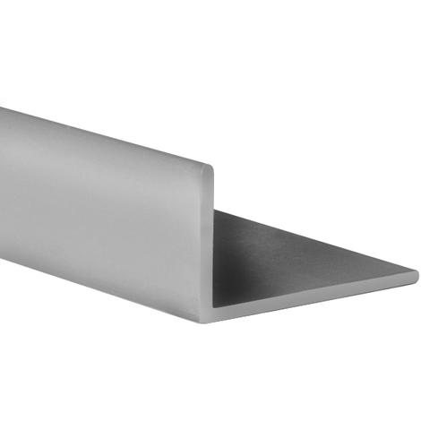 Perfil angular con lados desiguales de plástico (PVC), acabado en gris y 1000 mm de largo. Ref. 9101.2010.02