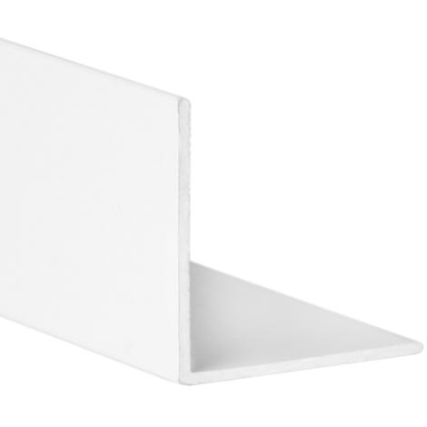 Perfil angular con lados iguales de aluminio, acabado en blanco y 1000 mm de largo. Ref. 9000.1010.01