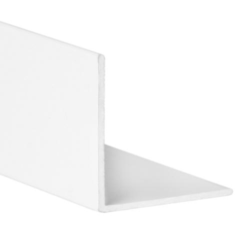 Perfil angular con lados iguales de aluminio, acabado en blanco y 1000 mm de largo. Ref. 9000.2525.01