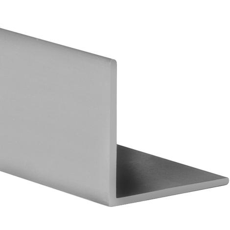 Perfil angular con lados iguales de plástico (PVC), acabado en gris y 1000 mm de largo. Ref. 9100.1010.02