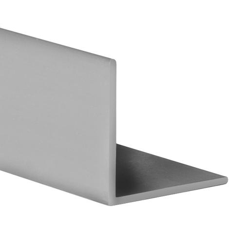 Perfil angular con lados iguales de plástico (PVC), acabado en gris y 1000 mm de largo. Ref. 9100.1515.02
