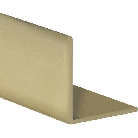 Perfil angular con lados iguales de plástico (PVC), acabado en oro y 1000 mm de largo. Ref. 9100.1010.20