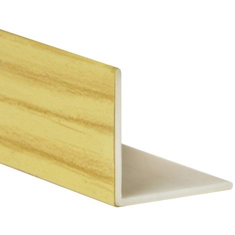 Perfil angular con lados iguales de plástico (PVC), acabado en pino y 1000 mm de largo. Ref. 9100.1010.94