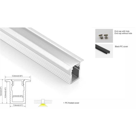Perfil de aluminio 13x12mm para empotrar (2mt) Especial para tira LED de 5mm