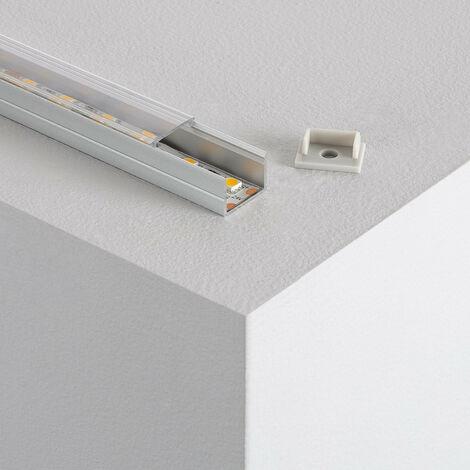 Perfil de Aluminio con Tapa Continua para Tiras LED 220V Monocolor a Medida Transparente.1mTransparente - Transparente1mTransparente