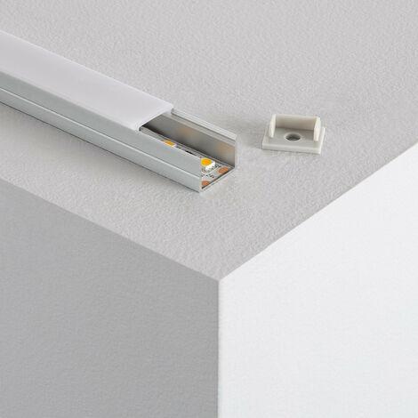 Perfil de Aluminio con Tapa Continua para Tiras LED RGB 220V corte cada 100cm 10m Tapa Traslúcida - 10m