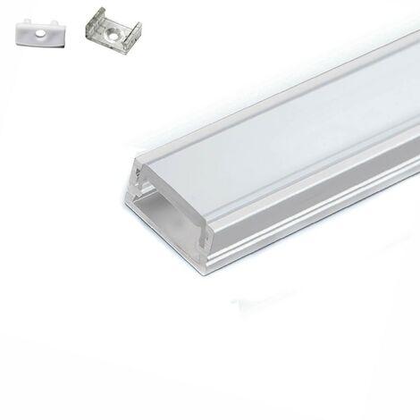 Perfil de aluminio de 5 metros ( 5 x 1 metro ) con difusor opaco