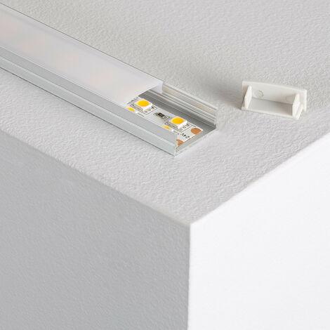 Perfil de Aluminio de Superficie con Tapa Continua para Doble Tira LED .1m - 1m