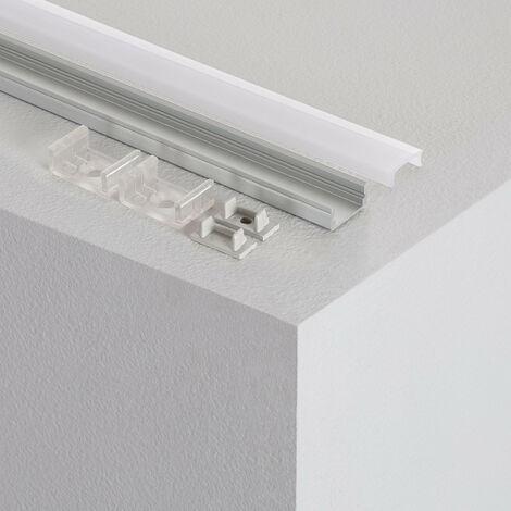 Perfil de Aluminio de Superficie con Tapa Continua para Tiras LED hasta 12 mm .8m - 8m