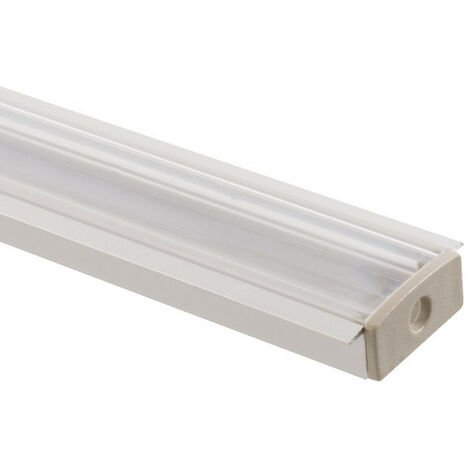 Perfil de Aluminio Empotrado con Tapa Continua para Doble Tira LED .1m - 1m