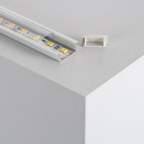 Perfil de Aluminio Empotrado con Tapa Continua para Doble Tira LED hasta 18 mm .10m - 10m