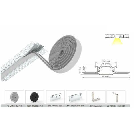 Perfil de aluminio integración Escayola/Pladur 30.8x10mm (2m)