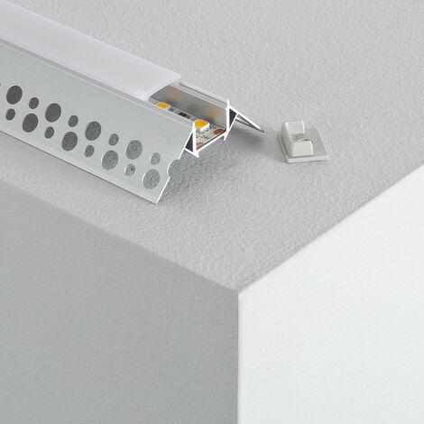 Perfil de Aluminio para Esquina Exterior Triangular Tira LED 12/24V a Medida 1m - 1m