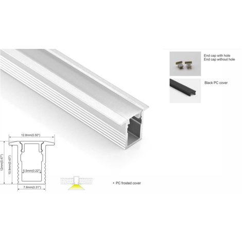 Perfil de aluminio para tira led 13x12mm para empotrar (2mt) Especial para tira LED de 5mm