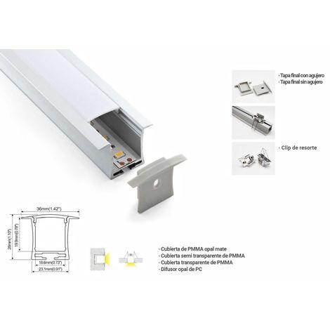 Perfil de aluminio para tira LED empotrable 36x28mm (2metros)