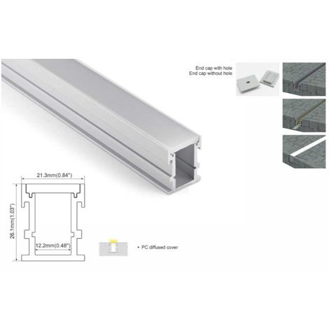 Perfil de aluminio para tira LED empotrable en suelo 21x26mm IP54 (2metros)