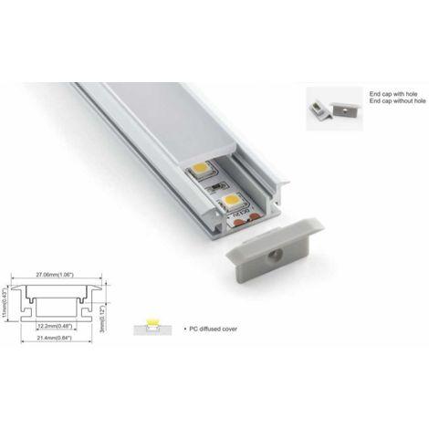 Perfil de aluminio para tira LED impermeable empotrable suelo 27x11mm (2metros)