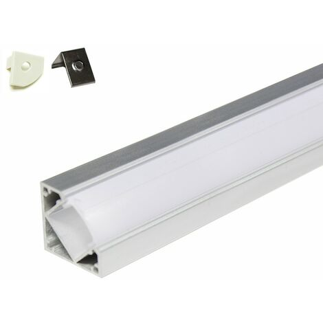Perfil de aluminio para un ángulo de 45° - 5 metros (5 x 1 metro) con difusor opaco