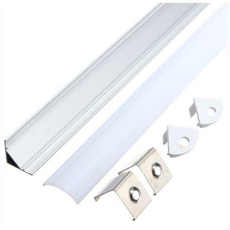 Perfil de aluminio pequeño de 50 cm para tira LED + cubierta rígida en V