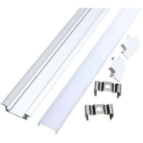 Perfil de aluminio pequeño de 50 cm para tira LED + cubierta rígida en V Sasicare