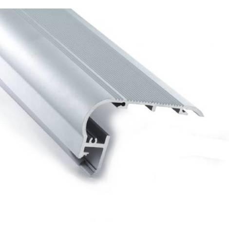 Perfil de aluminio rodapie para peldaños y escaleras 80x50mm (2mt)