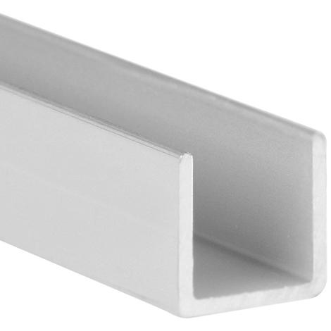 Perfil en U de aluminio, acabado en anodizado mate y 1000 mm de largo. Ref. 9003.1010.63
