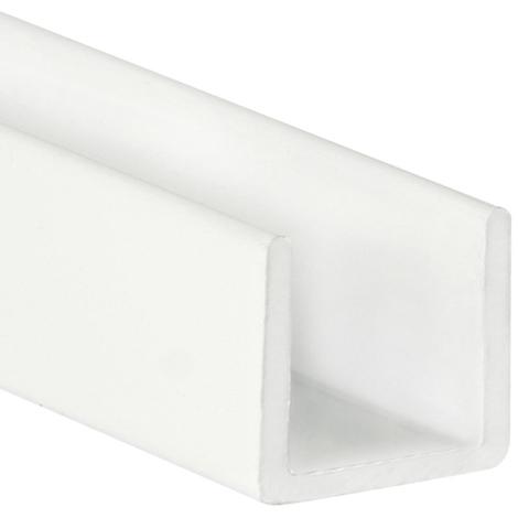 Perfil en U de aluminio, acabado en blanco y 1000 mm de largo. Ref. 9003.1515.01