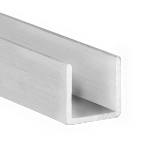 Perfil en U de aluminio, acabado en crudo y 1000 mm de largo. Ref. 9003.0808.00