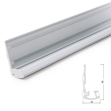Perfíl Iluminación Escaleras - Gomas Antideslizantes - Difusor Opal x 1M (SU-S002)