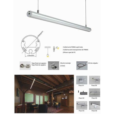Perfil para tira LED de colgar o superficie diámetro 21mm (2metros)