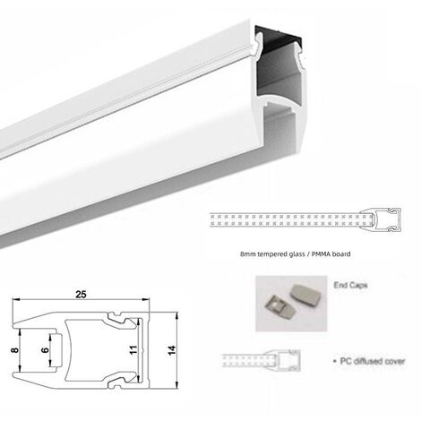 Perfil para tira LED para cristal y estante 25x14mm (2m)