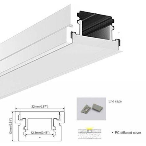Perfil para tira LED para empotrar en Suelo 22x13mm (2m)
