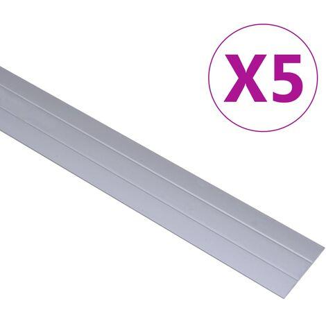 Perfiles de suelo 5 unidades aluminio plateado 90 cm