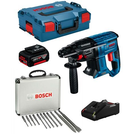 Perforateur BOSCH GBH 18V-21 (1 x 5,0 Ah GAL18V-40 L-Boxx 136) Set SDS-Plus 11 pièces