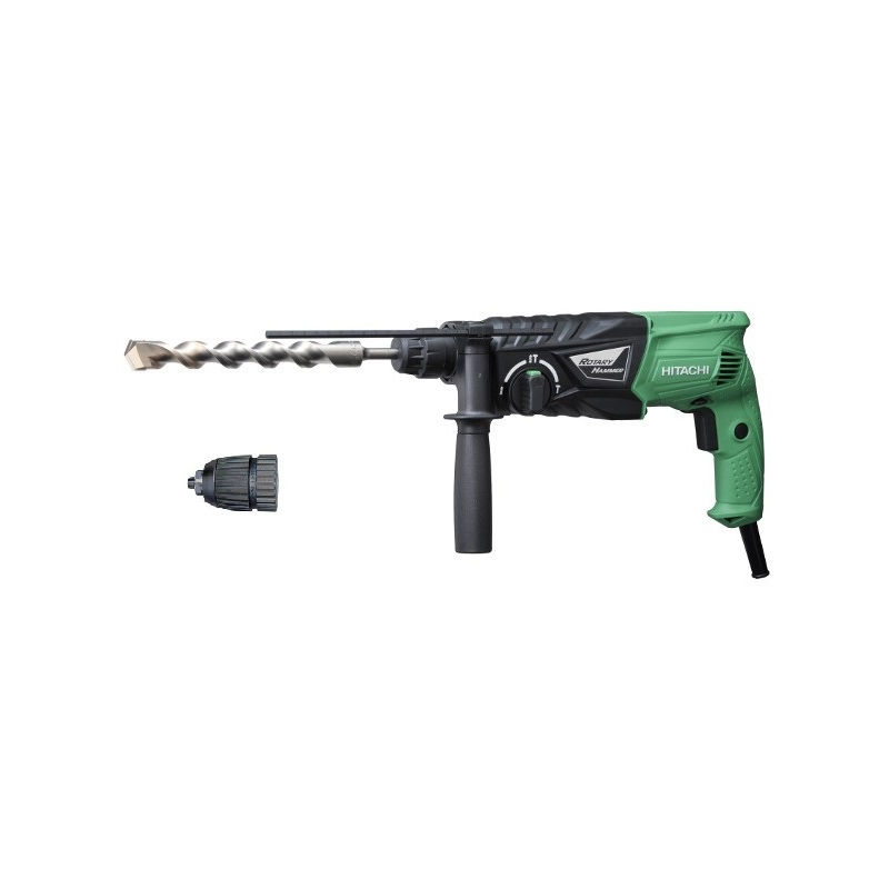 Perforateur SDS+ perçage et burinage - 24 mm / 730 W / 2,7 Joule HITACHI/HIKOKI + Mandrin en malette – DH24PHZ