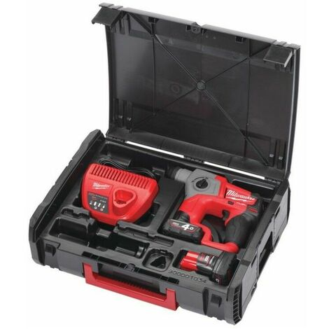 Perforateur MILWAUKEE M12 CH-402X SDS-Plus 12V + 2 batteries 4.0Ah, chargeur en coffret Dynacase - 4933446049