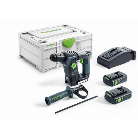 Perforateur sans fil BHC 18 Li 3,1 I-Plus FESTOOL - 2 Batteries 3.1 Ah, chargeur, coffret + poignée - 576515