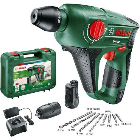 Perforateur sans fil Bosch - Uneo (Livré avec 2 Batteries 12V - 2,5Ah et son adaptateur pour forets, avec accessoires)