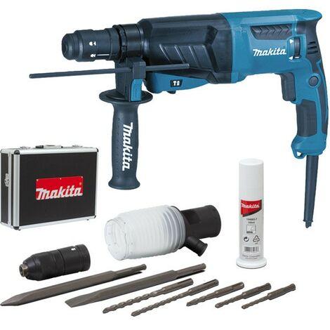 Perforatore-scalpellatore MAKITA SDS-Plus - 800 W 26 mm + valigetta in alluminio + kit di accessori - HR2630TX4