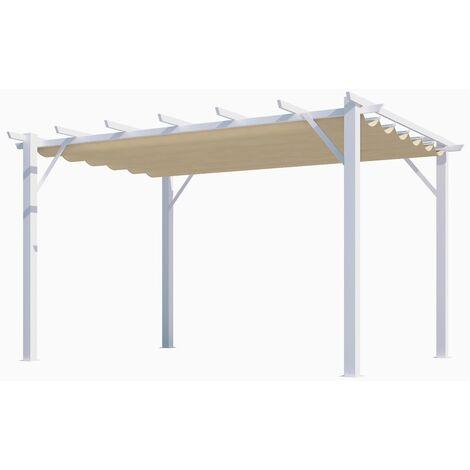 Pergola 100% aluminium couleur écru 12 m2 - structure blanch perle