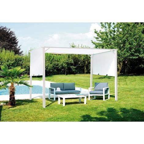 pergola 3 5x2 5 m en fer avec toit coulissant blanc mo. Black Bedroom Furniture Sets. Home Design Ideas