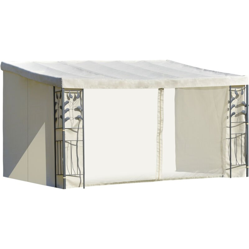 Pergola adossable dim. 4L x 3l x 2,7H m pavillon de jardin toile polyester haute densité moustiquaires crème structure métal époxy gris